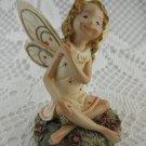 Ceramic Happy Fairy Pixie Statue Figurine Sitting Gazing Cheerfully tblwk1