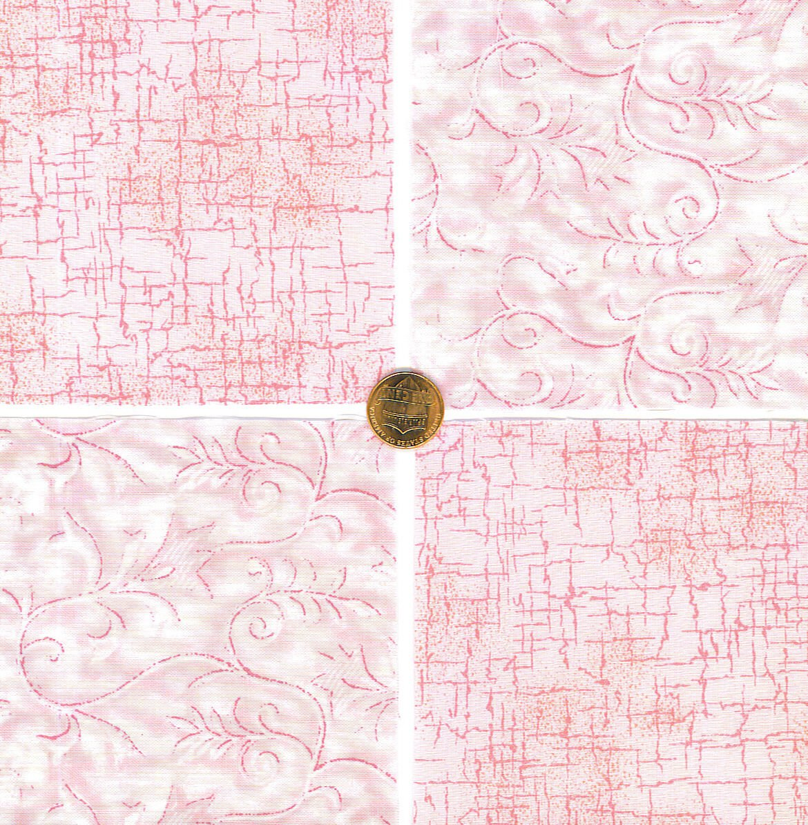 Pink Serenity  Flowers and Crack Fabric 100% Cotton Squares  1Q  zw1