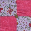 Butterfly Dreams Pink Fabric 4 inch Cotton Fabric Square zR1
