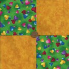 Hearts Rainbow Gold 4 inch Cotton Fabric  Block zk1 A P