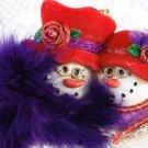 Kurt Adler Christmas Tree Ornament Red Hat Club Snowmen Collectible Cute tbleu1