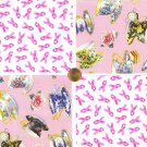 Tea for Two Pink Breast Cancer Awareness Cotton Quilt Craft Fabric Squares cc1