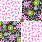 Multi Colored Florals Pink Ribbons Breast Cancer Cotton Quilt Fabric Squares cc1