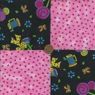 Garden Whimsy in Pink Flowers Cotton Fabric Quilt Craft Squares gd1