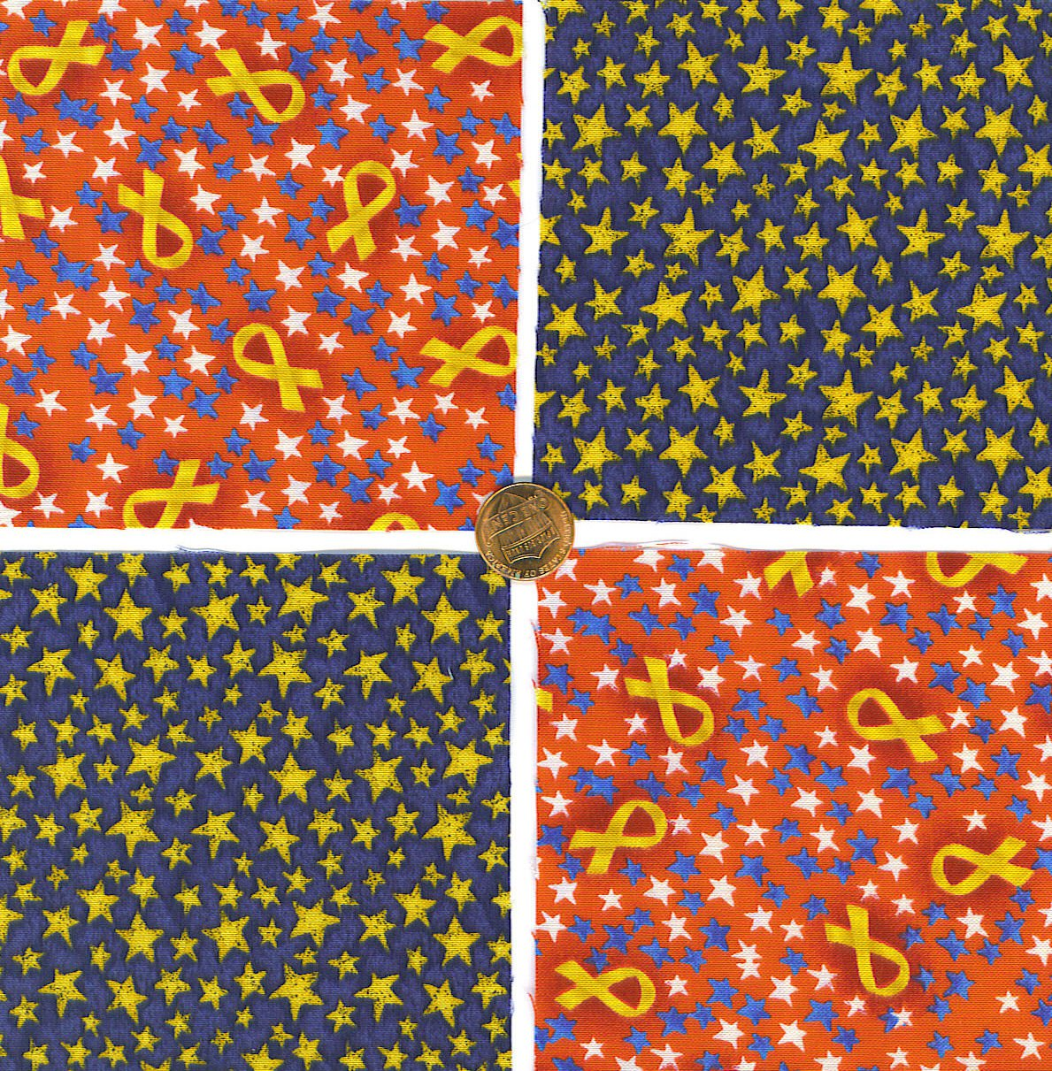 """Stars and Patriotic Support Ribbons 4"""" 4 inch Fabric Quilt Squares LW1"""