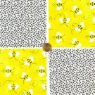 OUCH Bee Sting Bubble Bee   4 inch Got Stung Cotton Fabric Squares Blocks ZS1