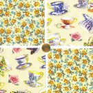 Decorative Teacups and Gold Shabby Roses  Cotton Fabric Craft Quilt Squares KL1