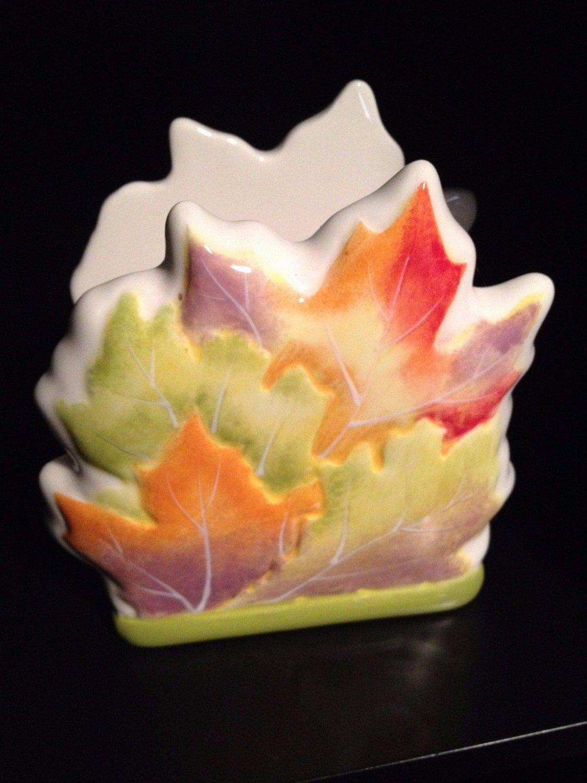Essential Home Ceramic Leaf Napkin Holder Bright Autumn Colors tblmh1