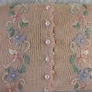 Knitted Sweater Pillow Pink With Buttons Multi Colored Flowers and Beads tblko1