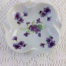 Lefton China Hand Painted Square Shaped Trinket Ring Dish Violet Bouquets tblcw1