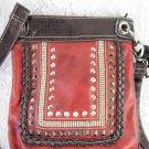 Studded Red and Black Shoulder Handbag Silver Trim Fashion Accessory tbllw1