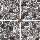 Black and White Flower Power Cotton Fabric Novelty Craft Quilt Squares  ZF1
