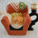 Houston Harvest Gift Products Ceramic Teapot Shabby Rose Cat On a Sofa tblak1