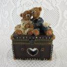 Wedding Bears Anniversary With Bird Treasure Jewelry Trinket Earring Box tblxs1