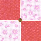 Check Breast Cancer Awareness Ribbons Pink  Fabric 100% Cotton Squares 1Tb  zw1