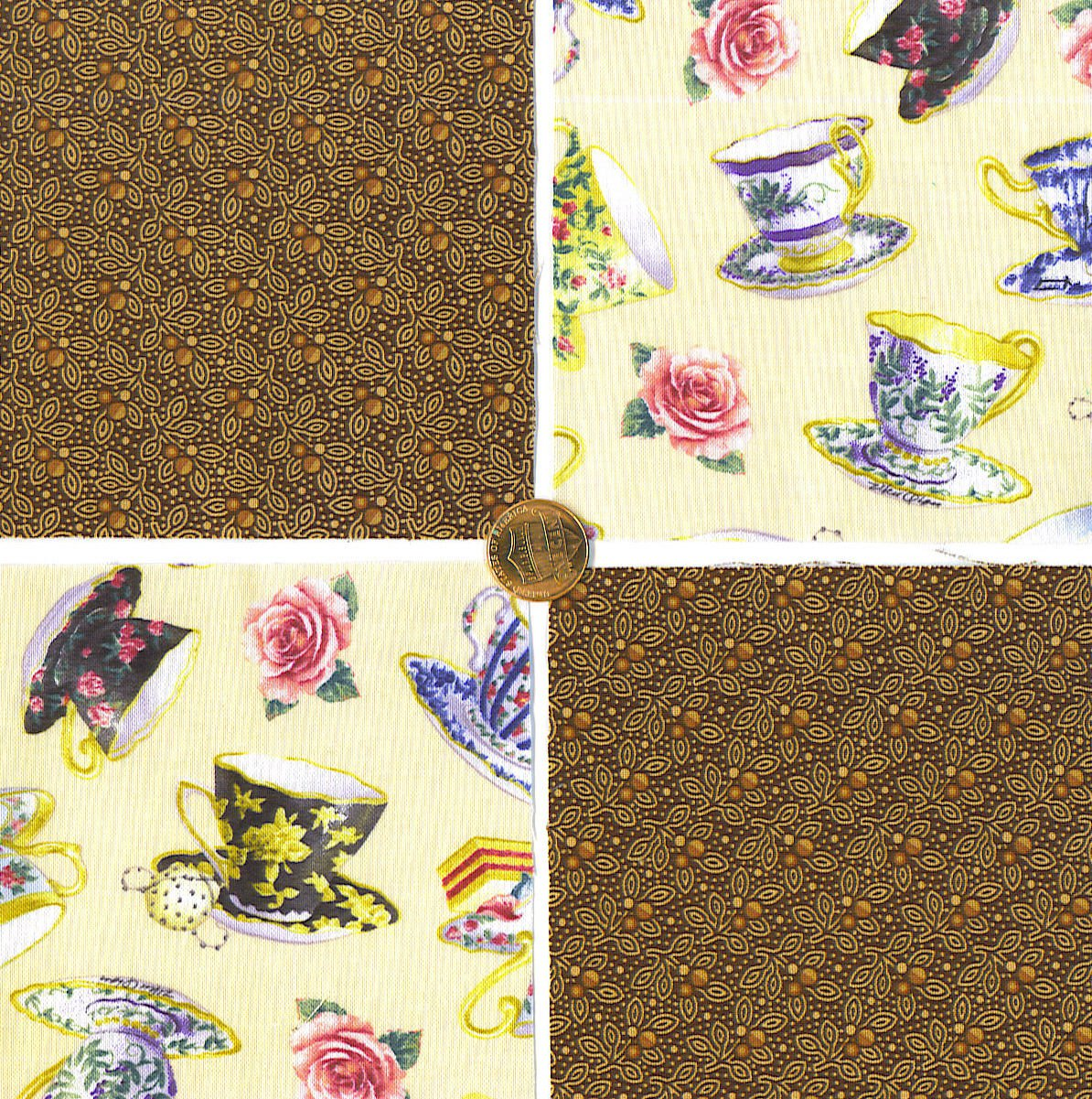 Teacups and Tea Leaves Cotton Craft Quilt Fabric Squares KL1