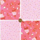 Pink Awesome Flowers and Polka Dots Fabric 100% Cotton Squares  1i  zw1