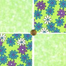 Lime Flower Power Cotton Craft Quilt Fabric Squares kl1