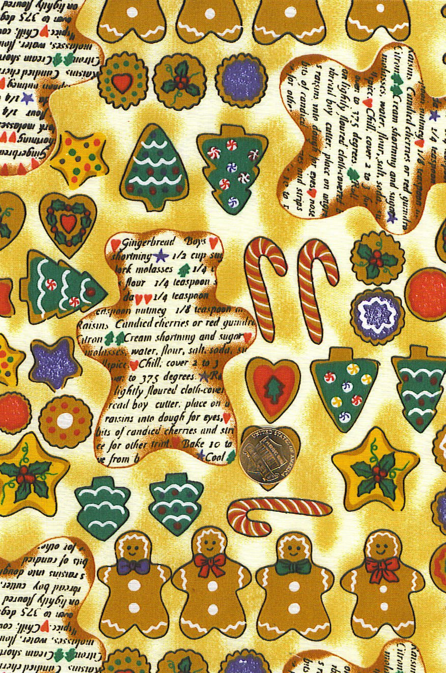 """I Spy 6 by 9 inch Gingerbread Recipe Cookies Christmas  Novelty Fabric 6"""" x 9"""""""