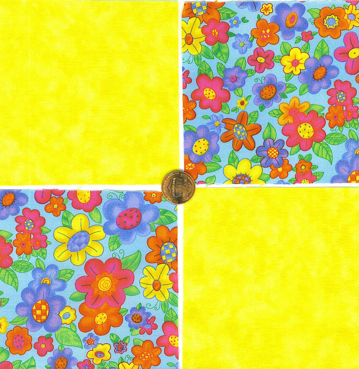 Spring Summer Flower Garden Bright Colorful  100% Cotton Fabric Quilt Squares GE