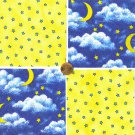 Stars Moon Sweet Dreams La La Bye  100% Cotton Fabric Quilt Squares GE