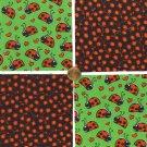Ladybug Ladybugs and Poppies Cotton Fabric Squares Blocks ZS1