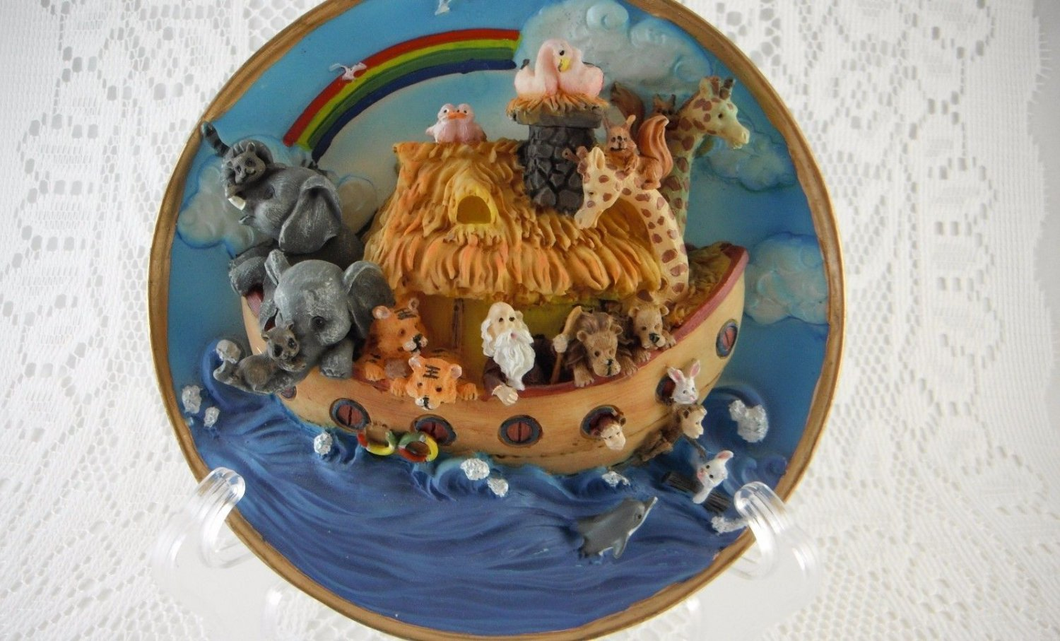 Resin Cadona Noah Ark Plate 1999 Two by Two Biblical Colorful Dimensional tblqd1