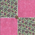 20 4 inch Royal Pink Florals Fabric Quilt Craft Squares  100% Cotton osr3