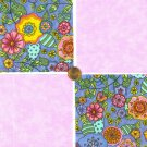MOD Flowers and  Pink  Fabric 100% Cotton Squares  1zz   zw1