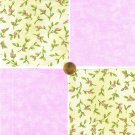 Pretty Little Pink Flowers and Rosebuds  Fabric 100% Cotton Squares    zw1