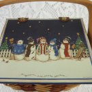 Wicker Basket Snowmen Carolers Singing We Wish You A Merry Christmas tbllw1
