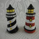 Lighthouse Salt and Pepper Shakers Black White and Red White Kitchenware tblmn1