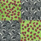 Ladybugs 4 inch 100% Cotton Novelty Fabric Quilt Squares TC1