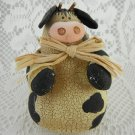 Vintage Stuffed Cow With Corn Stalk Bow Tie Figurine Bobble Collectible tblru1