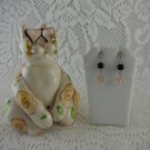 Ceramic Cat Pink Green Yellow Statue Sunglasses With Matching Earrings tblhw1