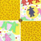 Cut out Kids Polka Dots Doll Bubbles 4 inch Cotton  Fabric Squares Blocks WW1