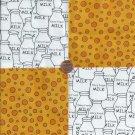 Sour Milk  4 inch 100% Cotton Novely Fabric  Squares FS2