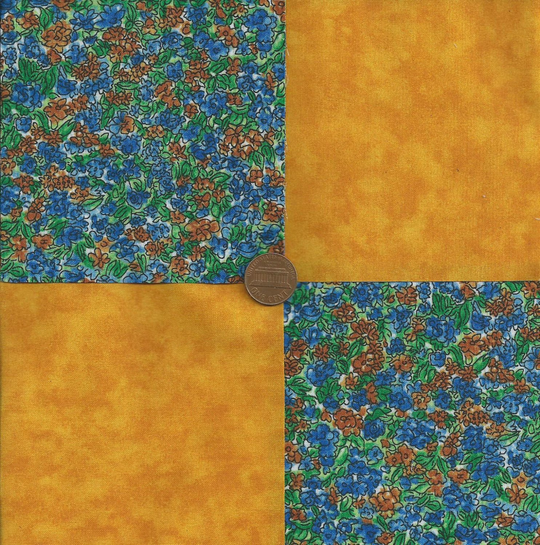 Miniature Golden Roses 4 inch Fabric Quilt Squares Craft  Block rbx2