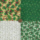 Ivy and Holly Assortment Fabric Leaves  Quilt Novelty Squares ms2