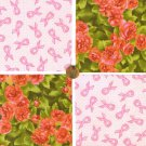 Shabby Roses and Breast Cancer Ribbons Cotton Fabric Craft Quilt Squares KL1