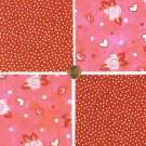 Polka Dots and Roses Flowers Floral Cotton Craft Quilt Fabric Squares kl1