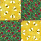 Bumblebee Blisters Bee Bite 4 inch 100% Cotton Novelty Fabric Quilt Squares ffs1