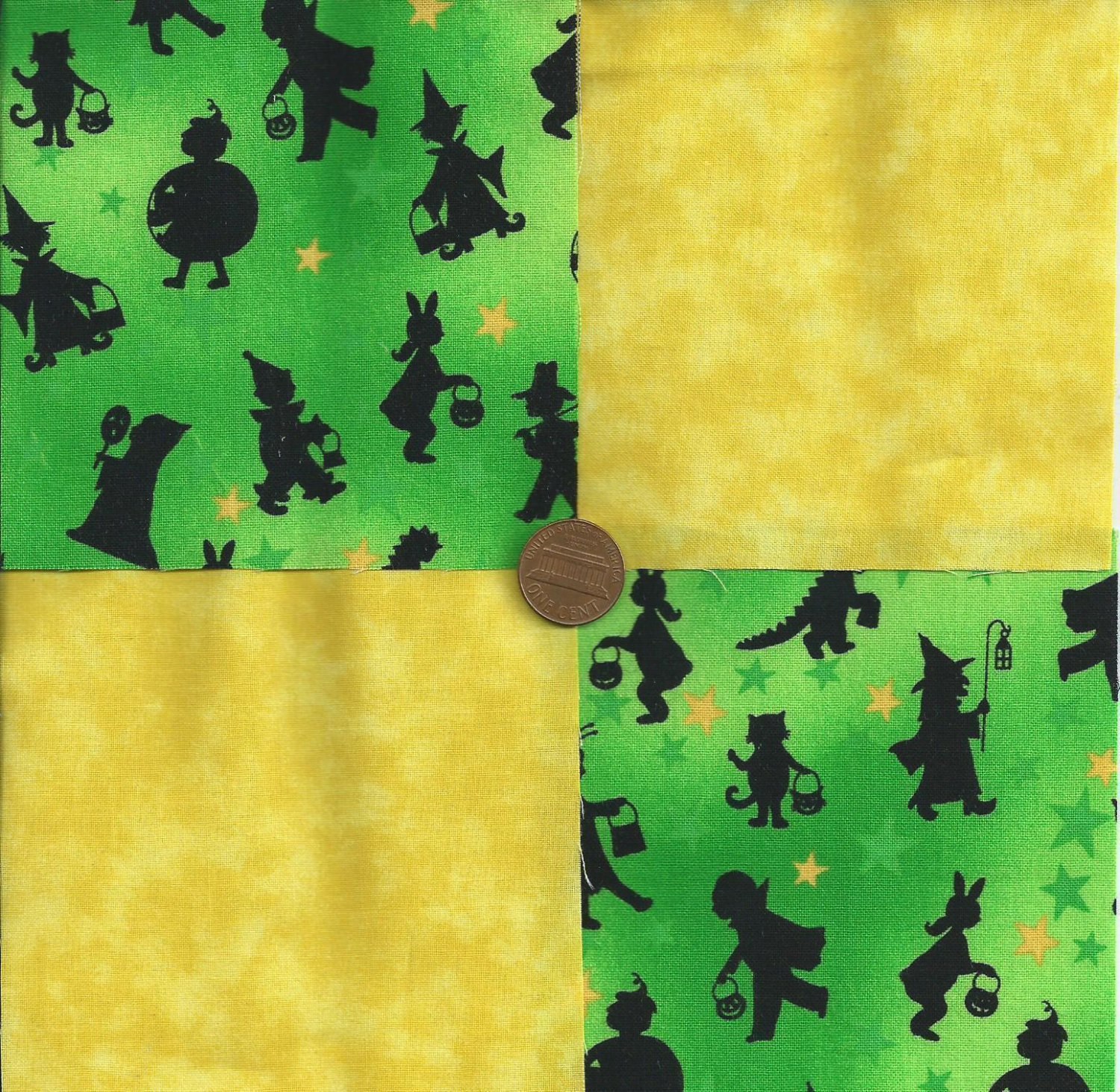 Halloween Trick or Treat in Daylight Green Cotton Novelty Fabric Squares sz1
