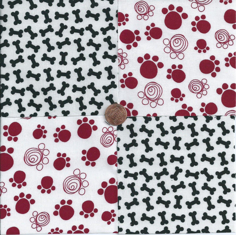 Black Bones Cranberry Paws 4 inch 100% Cotton Novelty Fabric Quilt Squares TB1