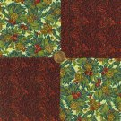 Acorns and Holly Berries 4 in Fabric Novelty Quilt Squares Cotton  my4