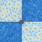Sweet Blue Daisies Fabric Quilt Squares  Blocks  zL1
