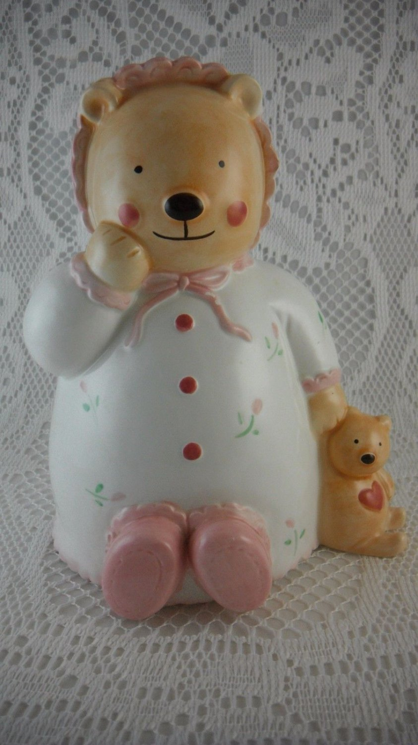 Ceramic Baby Bear and Buddy Bear Coin Bank Fund Jar Pastel Colored Cute tblep1