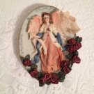 Angel Wall Hanging Plaque Shabby Rose Blue Plate Beautiful Coloring tblfx1