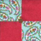 Multi-Color Florals & Red Fabric Craft Quilt Squares zp1