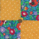 Citrus Orange Mod Flowers Ladybug & Whimsy Fabric Craft Squares  gd3